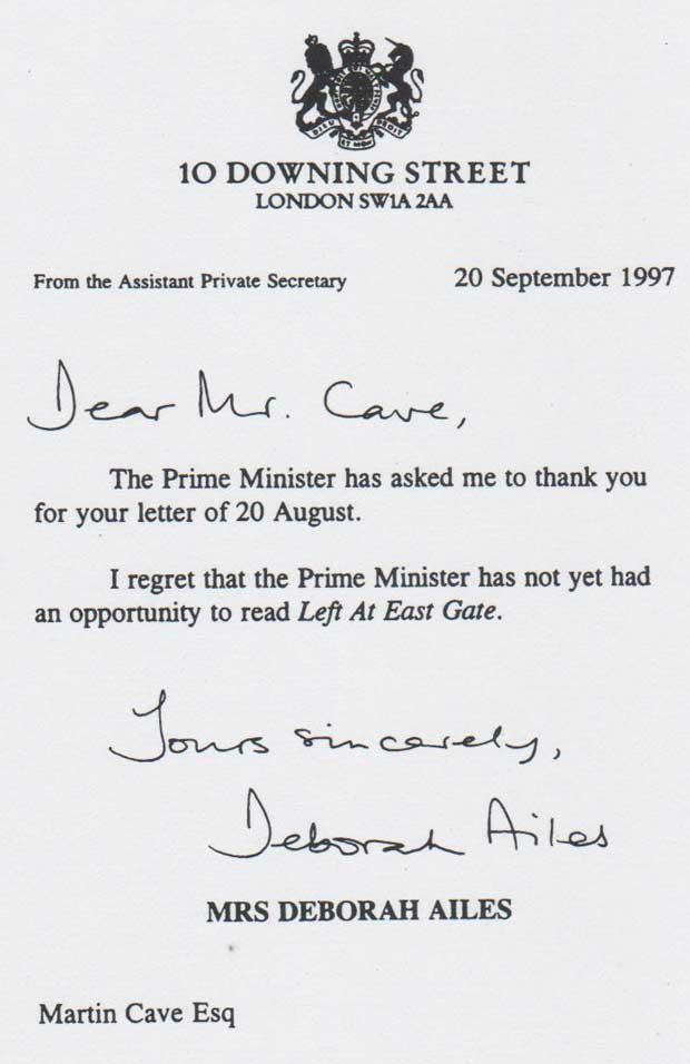 Letter from Prime Minister Tony Blair's Secretaries regarding Left At East Gate